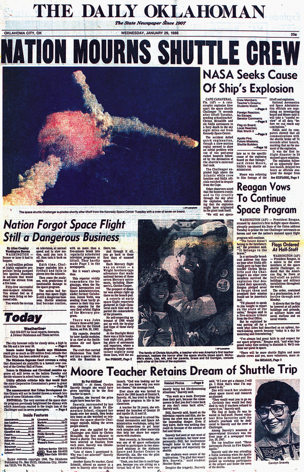 Photo - Front page of The Daily Oklahoman as it appeared on Wednesday, January 29, 1986.  (The nation was shocked Jan. 28, 1986, when the space shuttle Challenger exploded after liftoff.)