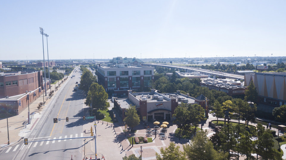 Photo - Drone photo of Sonic Headquarters in Bricktown, looking southeast along Reno Avenue.