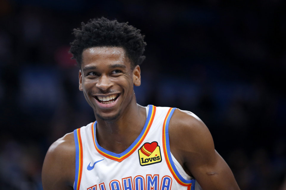 Photo - Oklahoma City's Shai Gilgeous-Alexander (2) smiles after a play during an NBA basketball game between the Oklahoma City Thunder and the Orlando Magic at Chesapeake Energy Arena in Oklahoma City, Tuesday, Nov. 5, 2019. Oklahoma City won 102-94. [Bryan Terry/The Oklahoman]