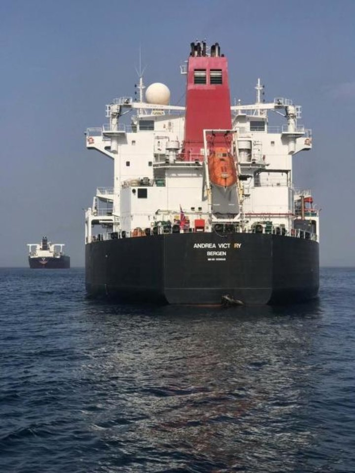 Photo -  The Norwegian-flagged oil tanker MT Andrea Victory is seen Monday off the coast of Fujairah, United Arab Emirates. Two Saudi oil tankers and the Norwegian-flagged vessel were damaged in what Gulf officials described Monday as a