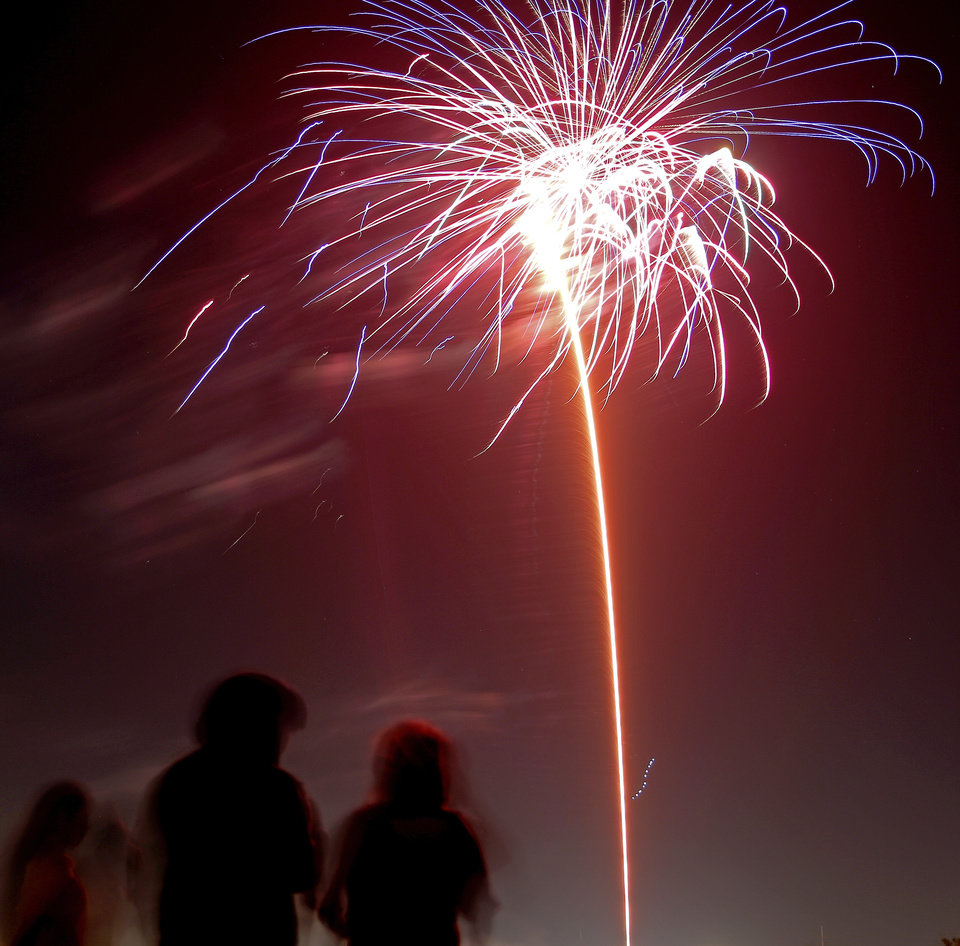 Photo - People watch fireworks during the Oklahoma City Philharmonic's Red, White and Boom fireworks and concert at the State Fair Park in Oklahoma City. [Photo by Sarah Phipps, The Oklahoman Archives]