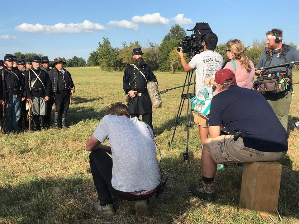 "Photo - Filmmakers work behind the scenes on the historical short film ""The Battle of Honey Springs."