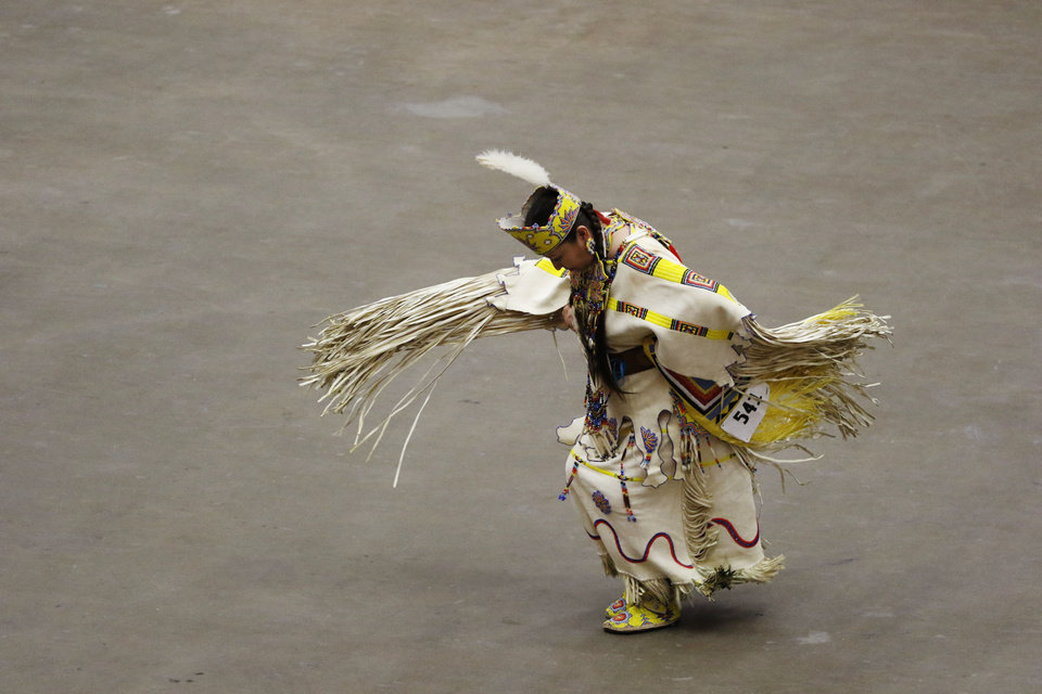 Photo - Dancers perform at the 2019 Red Earth Festival at the Cox Convention Center in Oklahoma City, Oklahoma Saturday, June 8, 2019.  [Paxson Haws/The Oklahoman]