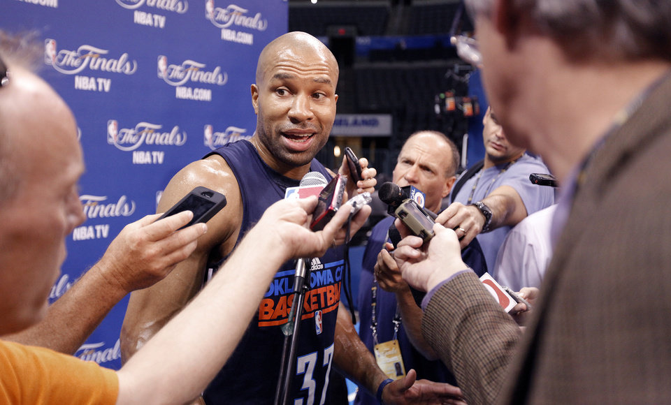 Photo - Oklahoma City's Derek Fisher talks to the media during the NBA Finals practice day at the Chesapeake Energy Arena on Monday, June 11, 2012, in Oklahoma City, Okla. Photo by Chris Landsberger, The Oklahoman