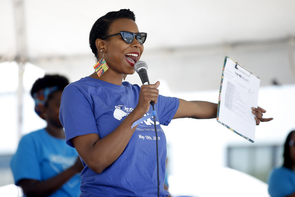 Photo - Councilwomen Nikki Nice helps kickoff the oNE OKC annual street festival hosted Northeast OKC Renaissance Inc. in Oklahoma City, Saturday, June 8, 2019. [Bryan Terry/The Oklahoman]