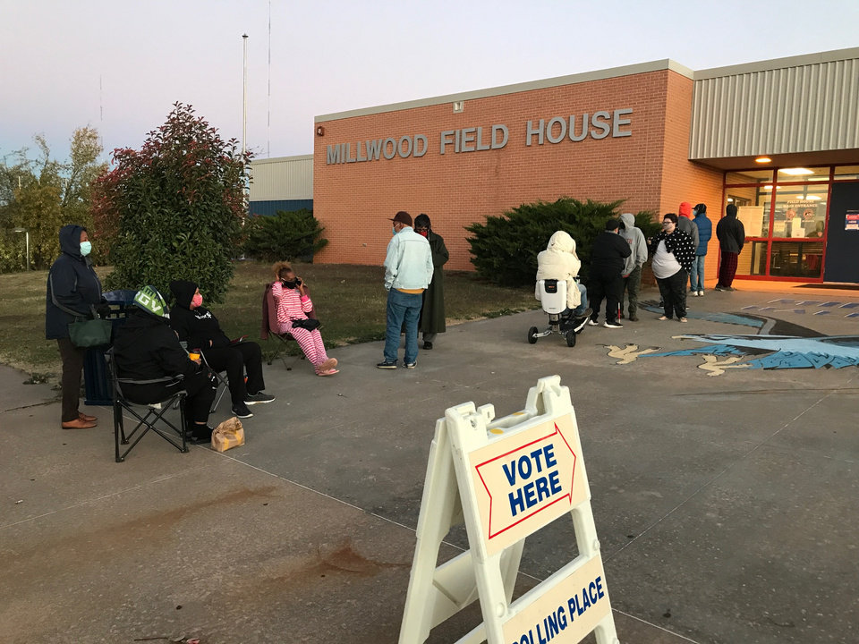 Photo - People wait for the polls to open Nov. 3, 2020, at the Millwood Field House in Oklahoma City. Photo by Doug Hoke