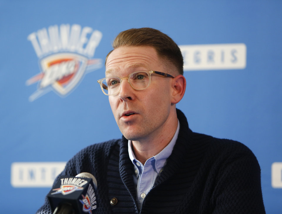 Photo - Oklahoma City Thunder general manager Sam Presti addresses the media regarding Kevin Durant's announcement that he will sign with the Golden State Warriors on Monday at the Integris Health Thunder Development Center in Oklahoma City, Monday, July 4, 2016. Photo by Kurt Steiss, The Oklahoman