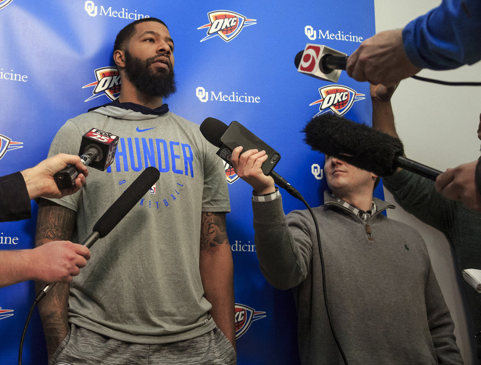 Photo - Oklahoma City Thunder's newest roster addition Markieff Morris after team practice at the Oklahoma City Thunder practice facility in Oklahoma City, Okla. on Thursday, Feb. 21, 2019.   Photo by Chris Landsberger, The Oklahoman