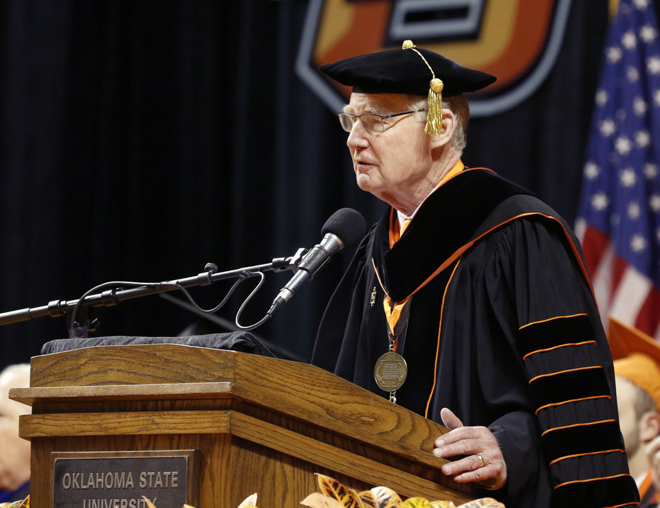 Photo - OSU President Burns Hargis speaks during the Undergraduate Commencement Ceremony for the College of Human Sciences and the College of Engineering, Architecture & Technology at the Gallagher-Iba Arena on the campus of Oklahoma State University in Stillwater, Okla. Saturday, May 13, 2017.  Photo by Paul Hellstern, The Oklahoman