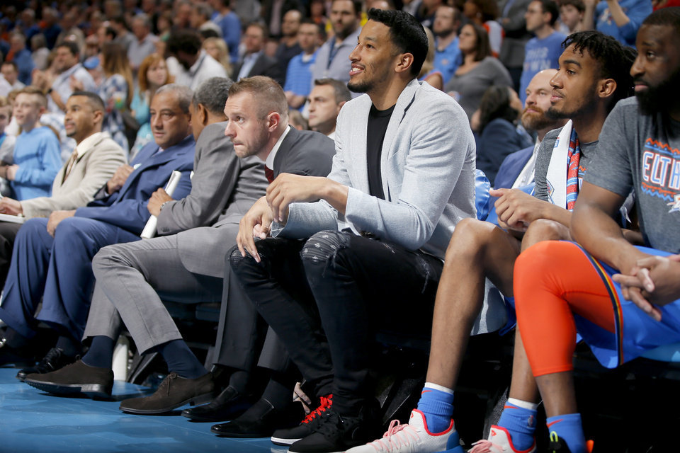 Photo - Oklahoma City's Andre Roberson sits on the bench during an NBA basketball game between the Oklahoma City Thunder and the Brooklyn Nets at Chesapeake Energy Arena in Oklahoma City, Wednesday, March 13, 2019. Oklahoma City won 108-96. Photo by Bryan Terry, The Oklahoman