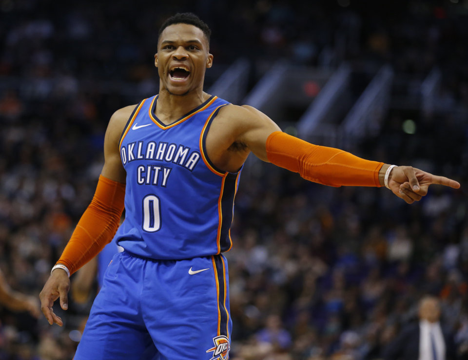 Photo -  Russell Westbrook scored 40 points on 17-for-29 shooting Friday in the Thunder's 118-102 win at Phoenix. [AP PHOTO]