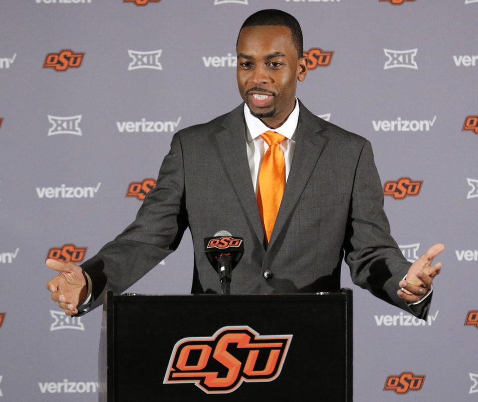 Photo -  Oklahoma State basketball coach Mike Boynton, shown here during his introductory news conference, met with media on Thursday to discuss former assistant coach Lamont Evans. [OKLAHOMAN ARCHIVES]