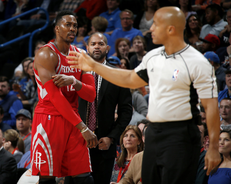 Photo - Houston's Dwight Howard (12) is ejected from the game after picking up his second technical foul during an NBA basketball game between the Oklahoma City Thunder and the Houston Rockets at Chesapeake Energy Arena in Oklahoma City, Friday, Jan. 29, 2016. Oklahoma City won 116-108. Photo by Bryan Terry, The Oklahoman