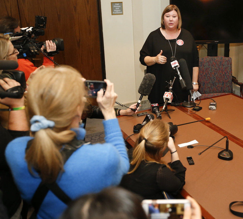 Photo -  Alicia Priest, Oklahoma Education Association president, gives a news conference April 6, during the fifth day of a walkout by Oklahoma teachers. [Photo by Nate Billings, The Oklahoman Archives]