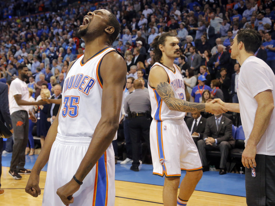 Photo - Oklahoma City's Kevin Durant (35) reacts at the start of the NBA basketball game between the Oklahoma City Thunder and the Los Angeles Clippers at Chesapeake Energy Arena on Wednesday, March 9, 2016, in Oklahoma City, Okla. Photo by Chris Landsberger, The Oklahoman