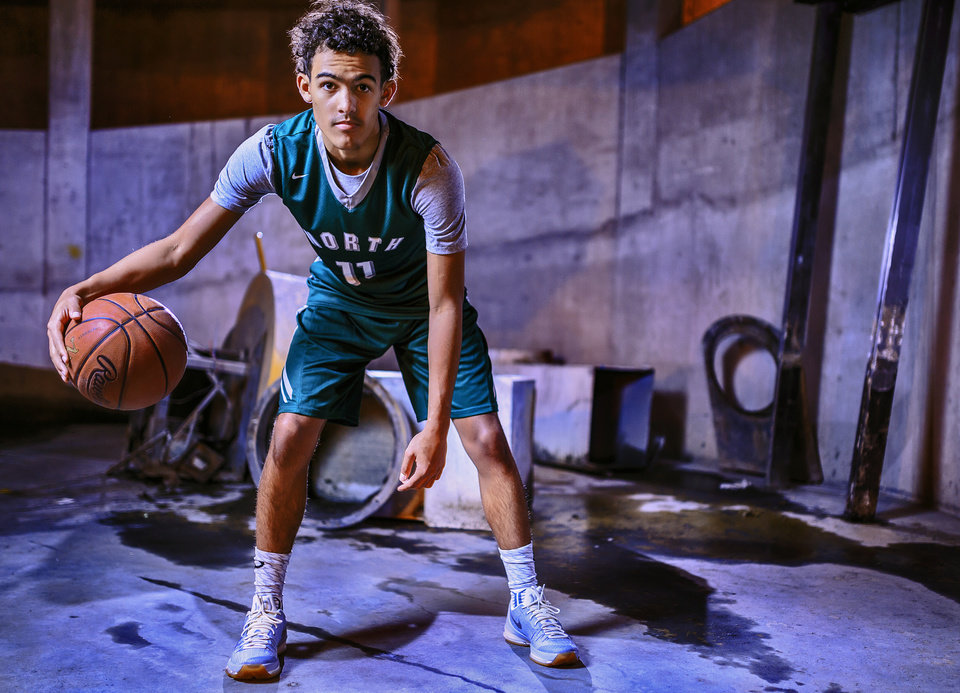 Photo -  Oklahoman Super 5 and All-City player Norman North's Trae Young shot at OPUBCO in Oklahoma City, Okla. on Monday, April 11, 2016. Photo by Chris Landsberger, The Oklahoman