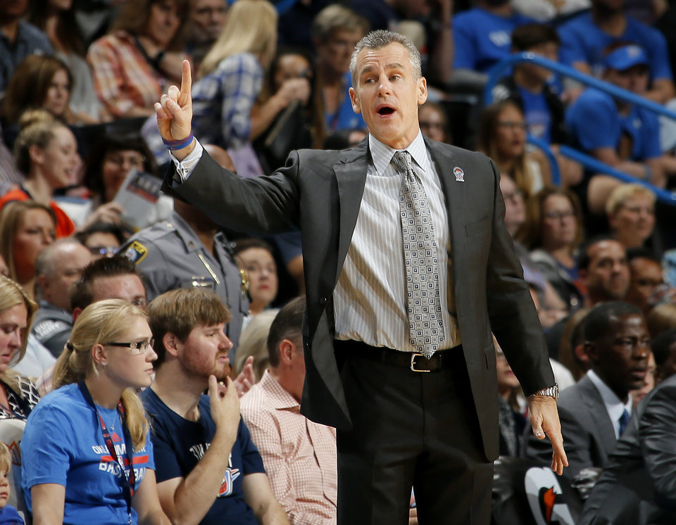 Photo - Oklahoma City coach Billy Donovan shouts during an NBA basketball game between the Oklahoma City Thunder and the Phoenix Suns at Chesapeake Energy Arena in Oklahoma City, Friday, Oct. 28, 2016. Photo by Bryan Terry, The Oklahoman