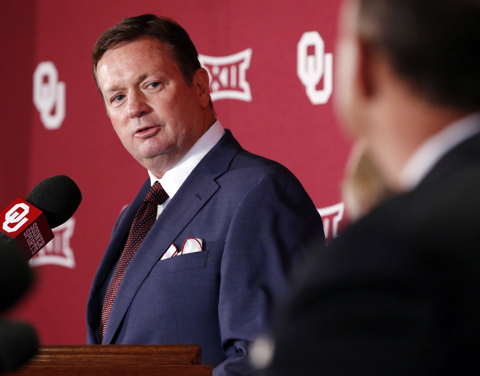 Photo - University of Oklahoma head football coach Bob Stoops speaks about his announced retirement at a press at Gaylord Family-Oklahoma Memorial Stadium in Norman, Okla. on Wednesday, June 7, 2017. Photo by Steve Sisney, The Oklahoman