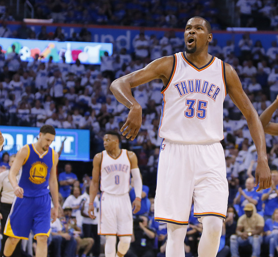 Photo - Oklahoma City's Kevin Durant (35) celebrates after a basket during Game 3 of the Western Conference finals in the NBA playoffs between the Oklahoma City Thunder and the Golden State Warriors at Chesapeake Energy Arena in Oklahoma City, Sunday, May 22, 2016. Oklahoma City won 133-105. Photo by Bryan Terry, The Oklahoman