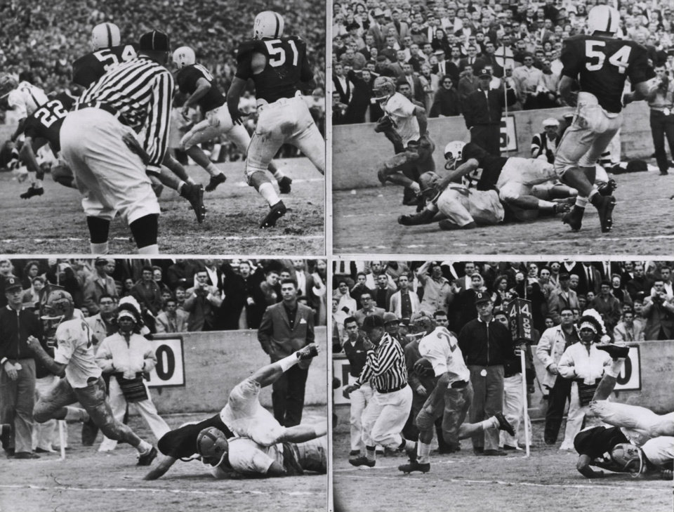 97889563e34 This sequence shows the touchdown Notre Dame scored, the only touchdown of  the game, in the 1957 contest against Oklahoma. Notre Dame's Dick Lynch  scored ...