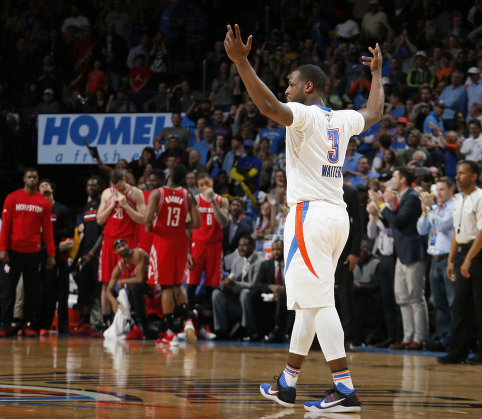 Photo - Oklahoma City's Dion Waiters (3) celebrates during an NBA basketball game between the Oklahoma City Thunder and the Houston Rockets at Chesapeake Energy Arena in Oklahoma City, Tuesday, March 22, 2016. Oklahoma City won 111-107. Photo by Bryan Terry, The Oklahoman
