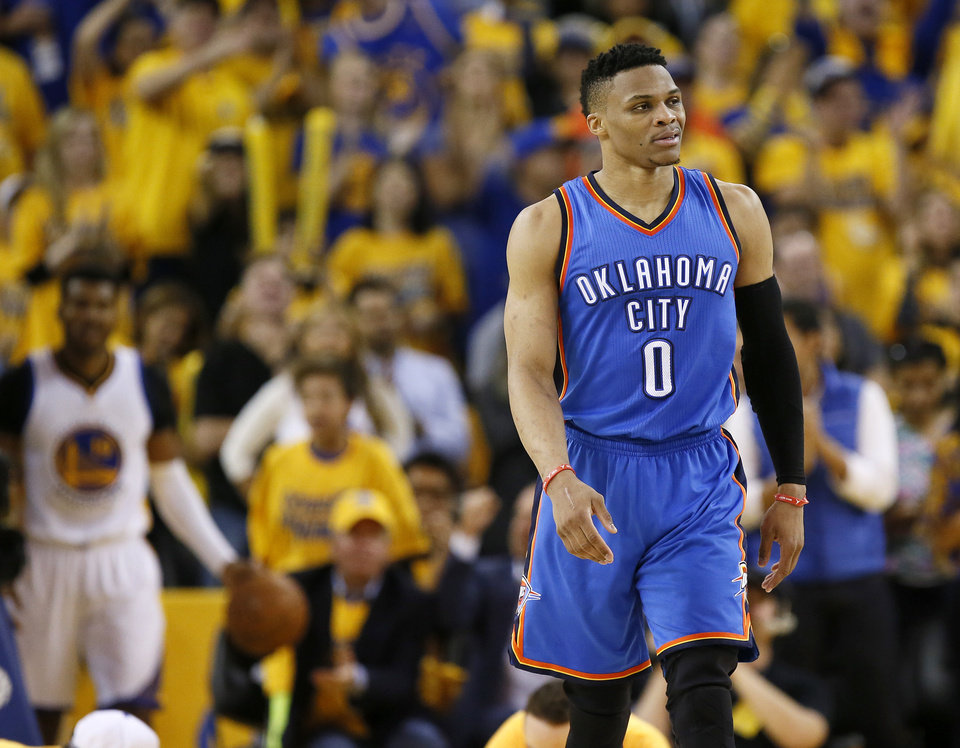 Photo -  The Thunder must decide whether to trade Russell Westbrook or hang on to him and hope he re-signs with OKC. [Photo by Nate Billings, The Oklahoman archives]