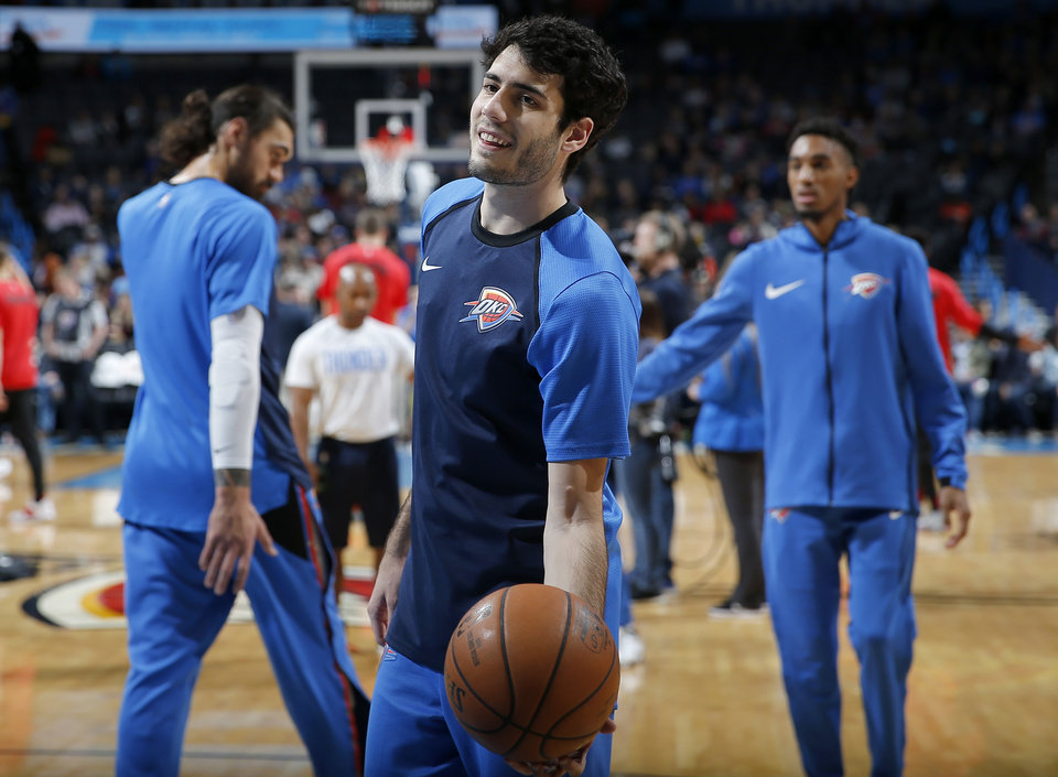 Photo - Oklahoma City's Alex Abrines (8) warms up before the NBA basketball game between the Oklahoma City Thunder and the Portland Trail Blazers at Chesapeake Energy Arena in Oklahoma City, Tuesday, Jan. 22, 2019. Photo by Sarah Phipps, The Oklahoman