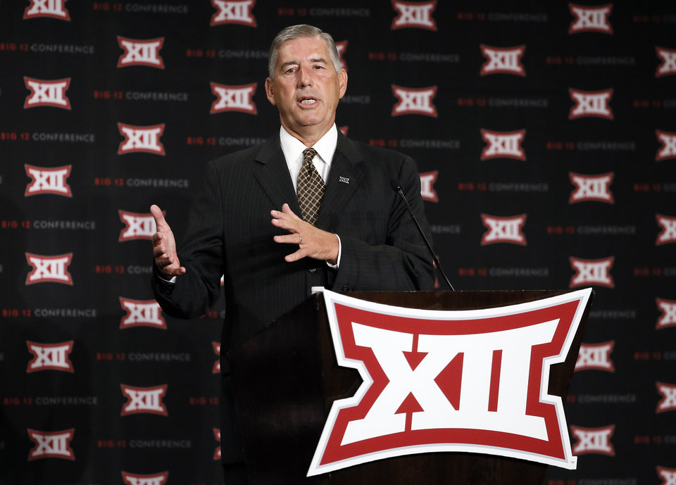 Photo - Commissioner Bob Bowlsby addresses attendees to Big 12 Conference Football Media Days Monday, July 20, 2015, in Dallas. (AP Photo/Tony Gutierrez)