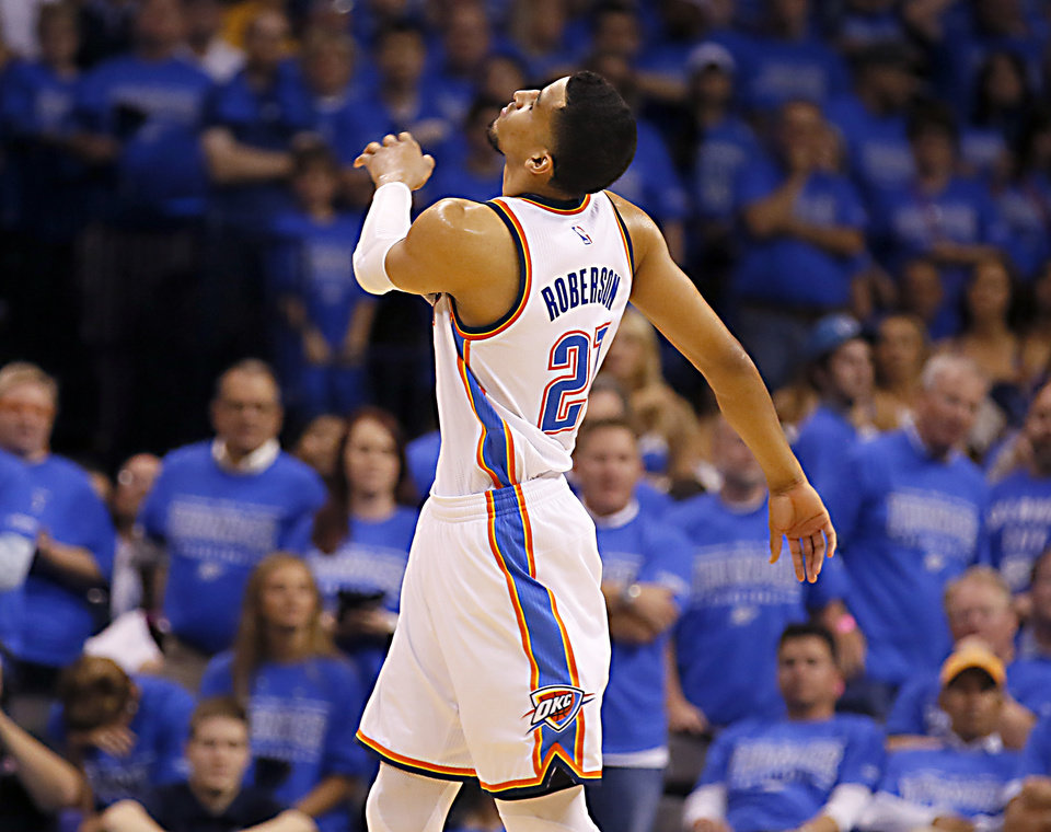 Photo - Oklahoma City's Andre Roberson (21) reacts after a play during Game 6 of the Western Conference finals in the NBA playoffs between the Oklahoma City Thunder and the Golden State Warriors at Chesapeake Energy Arena in Oklahoma City, Saturday, May 28, 2016. Photo by Sarah Phipps, The Oklahoman