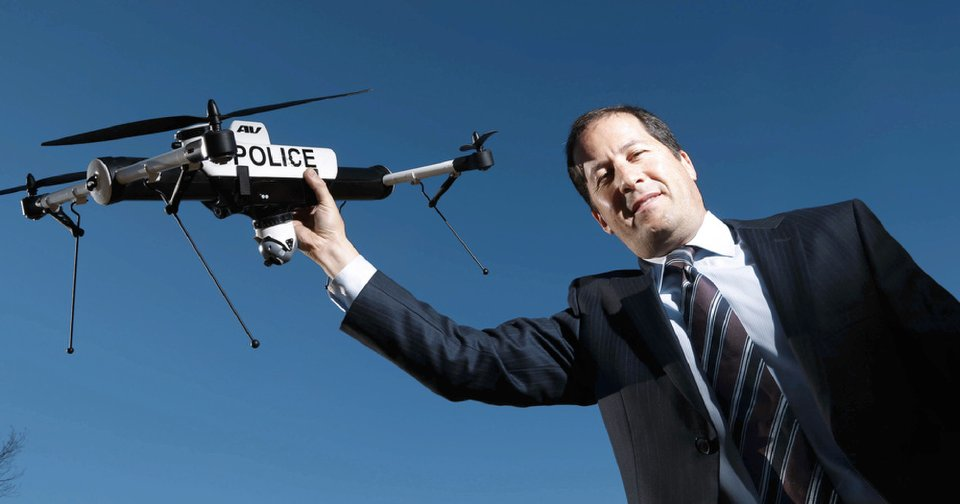 Steven Gitlin, vice president of marketing strategy and communications for AeroVironment, holds a drone Wednesday that could be used in law enforcement. Photo by Doug Hoke, The Oklahoman