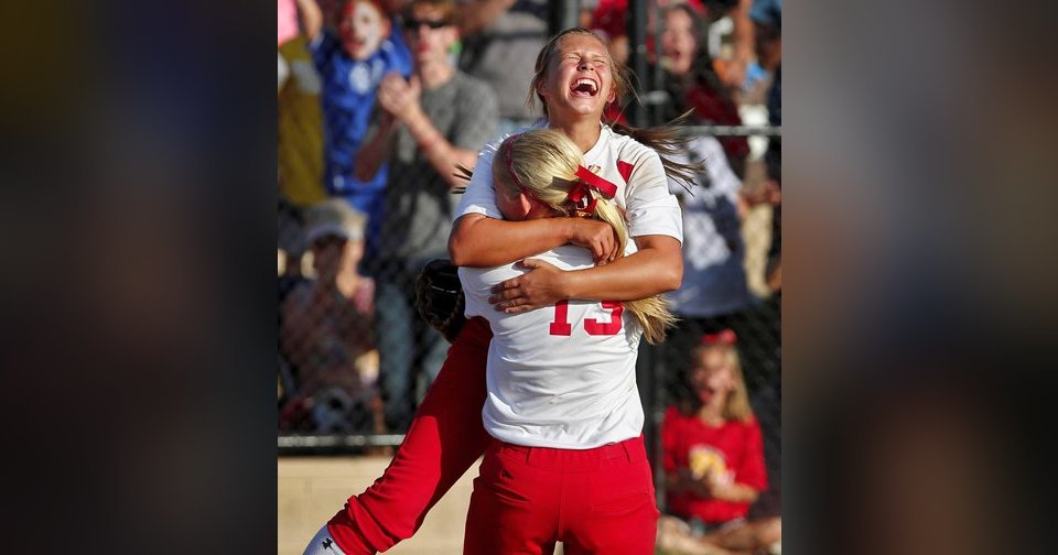 Dale pitcher Erin Harris screams as she jumps into the arms of Jaelin Flewallen after the final out that secured their team's championship victory against Savanna in Shawnee on Saturday.  Photo by Jim Beckel, The Oklahoman