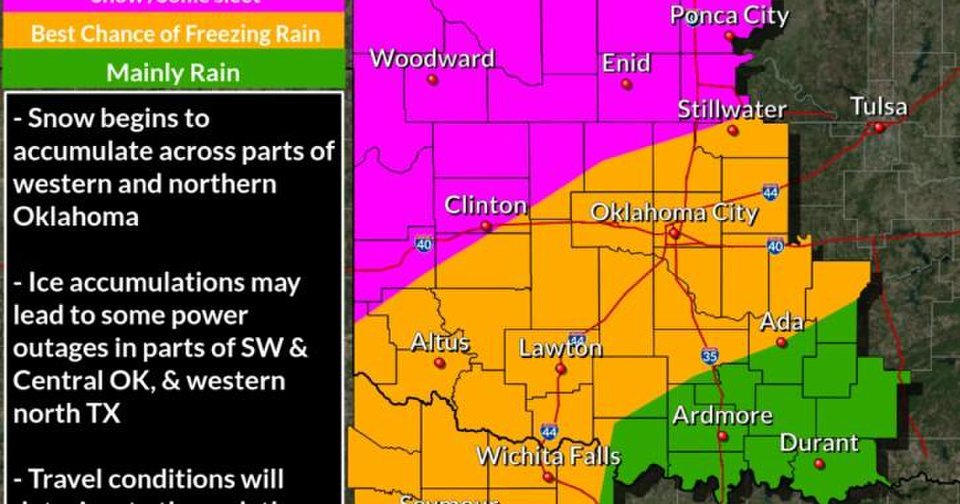 Map Of North Texas And Oklahoma.Gov Fallin Declares State Of Emergency Due To Ice Snow Ahead In