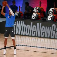 Aug 3, 2020; Lake Buena Vista, Florida, USA; Oklahoma City Thunder guard Andre Roberson (21) warms up before a NBA basketball game against the...