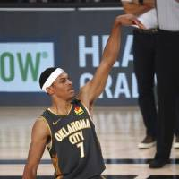 Oklahoma City's Darius Bazley puts up a 3-point shot during Sunday's win over the Washington Wizards. Bazley scored a career-hih 23 points. [Kim...