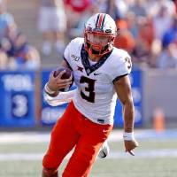 Oklahoma State quarterback Spencer Sanders has rushed for 219 yards on 34 carries this season. He's looking to boost those numbers on Saturday...