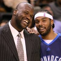 <p>FILE - Thunder's Chris Wilcox, right, and Phoenix Suns' Shaquille O'Neal before the Thunder - Suns game November 25, 2008 in Oklahoma City. BY HUGH SCOTT, THE OKLAHOMAN</p>