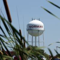 The Robinson Street water tower is painted to make viewers aware of the City of Norman on Wednesday, July 13, 2016 in Norman, Okla.  [Photo by...