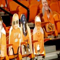 Cardboard fans are pictured during OSU's 75-70 win against Kansas on Tuesday at Gallagher-Iba Arena in Stillwater. [Sarah Phipps/The Oklahoman]
