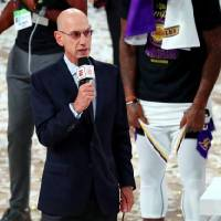 Oct 11, 2020; Lake Buena Vista, Florida, USA; NBA Commissioner Adam Silver during the trophy presentation after game six of the 2020 NBA Finals...