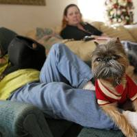 Photo - Trevor, a Brussels Griffon, sits on the leg of his owner, resident Cathi Doar, left, next to manager Lisa Schrameck  in the common area at Green Acres, 7601 SW 74.  NATE BILLINGS - The Oklahoman