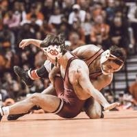 Oklahoma State's Nick Piccininni, right, wrestles Oklahoma's Christian Moody during the Bedlam dual on Sunday at Gallagher-Iba Arena. Piccininni...