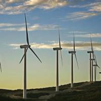 The wind farm on the Campo Indian Reservation sits peacefully at sunset in an area that San Diego Gas and Electric considers a major potential...