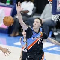 Rookie Aleksej Pokusevski (17) leads the Thunder with 1.2 blocks per game and his 11 blocks rank second among all rookies behind James Wiseman's...
