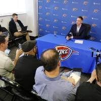 Sam Presti, general manager of the Oklahoma City Thunder basketball team,  met with members of local media for nearly an hour Monday morning, April...