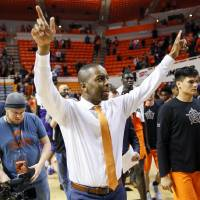 OSU coach Mike Boynton reacts after a men's college basketball game between the Oklahoma State Cowboys and the TCU Horned Frogs at Gallagher-Iba...