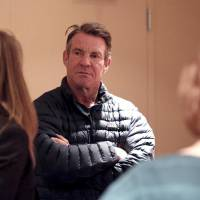 """Dennis Quaid talks with reporters on the set of the film """"I Can Only Imagine"""" at the Civic Center Music Hall, Thursday, Jan. 12, 2017, in Oklahoma..."""