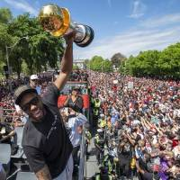 Kawhi Leonard celebrates during the Toronto Raptors' championship parade on June 17. The star free agent can determine the balance of power in the...