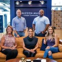 Members of the Mizzen+Main team include, from left, Assistant Store Manager Cari Maxwell, CEO Chris Phillips, District Manager Rubina Azam, Design...