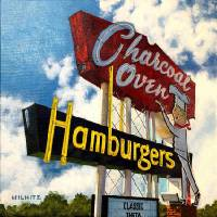 Dean Wilhite's painting of the iconic Charcoal Oven sign will be sold at the Oklahoma Visual Arts Coalition's 30th annual 12x12 Art Fundraiser....
