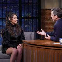 "Olivia Munn speaks during an interview with host Seth Meyers on June 24, 2019, on ""Late Night with Seth Meyers."" [Photo by Lloyd Bishop/NBC]"